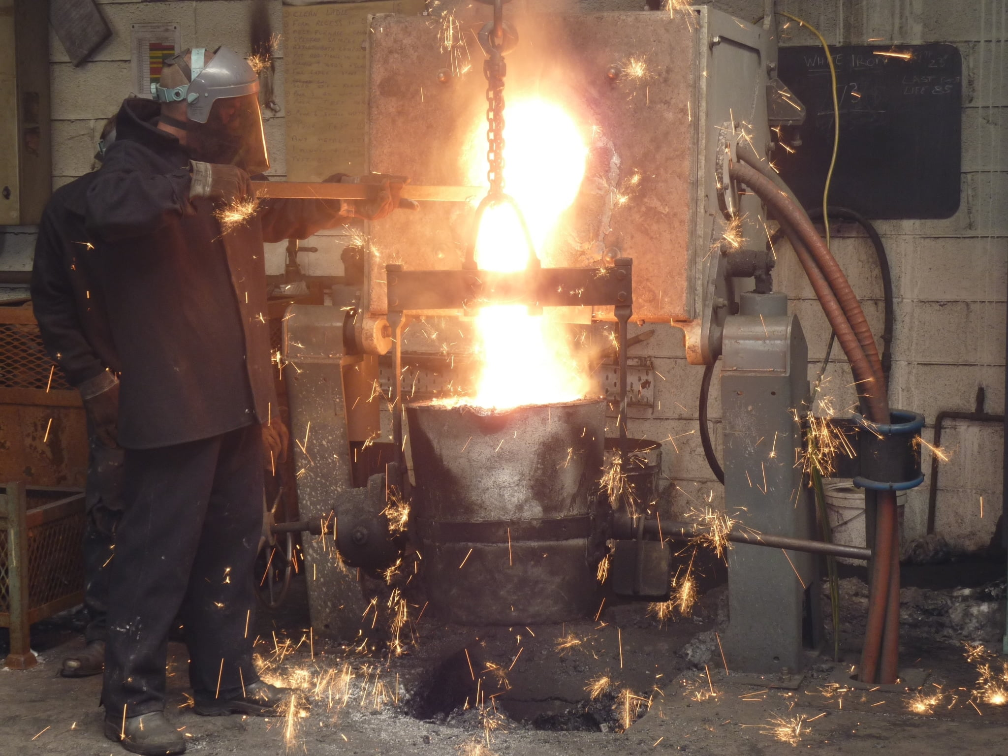 Two Staff Making a Sign Using The Furnace