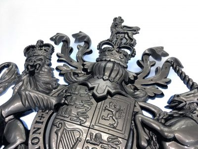 Close-up View of Pewter Painted Rear Illuminated HM The Queen Crest
