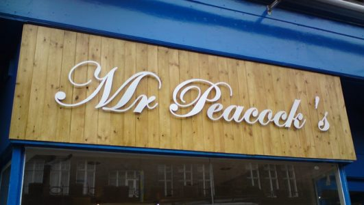 Cut Out Letter Sign - Mr Peacock, Bristol