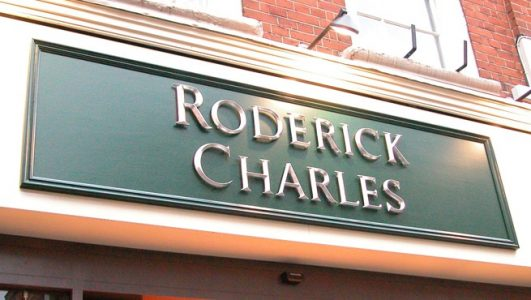Shop Front Sign for Roderick Charles, London. Cast Resin Letters