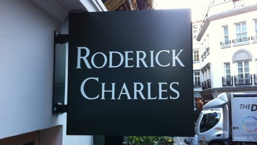 Projecting Box Sign for Roderick Charles