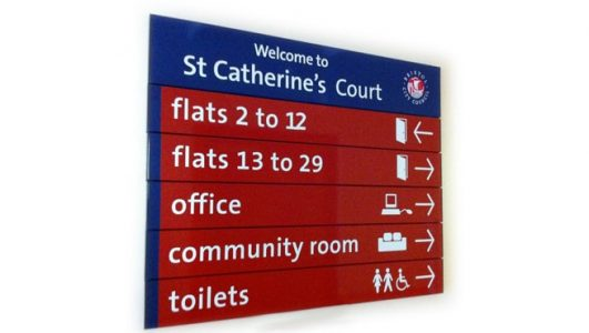 Internal Directory Sign with Vinyl Text at St. Catherine's Court for Bristol City Council