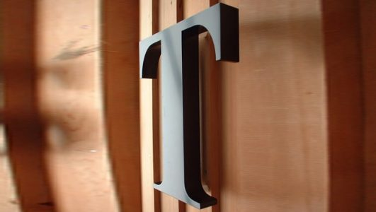 Built Up, Painted Letter T - Stainless Steel